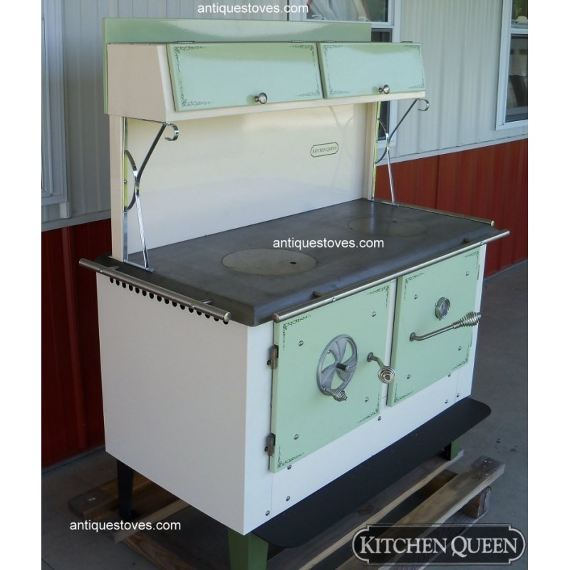 Kitchen queen wood cook stove green and cream