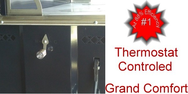 Grand Comfort Wood Cook Stove is thermostat controlled